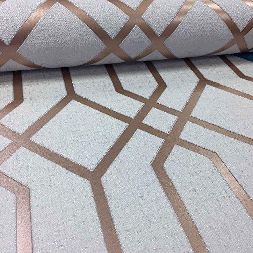 Geometric 3D Effect Glitter Wallpaper Trellis Textured Vinyl Metallic Rose Gold