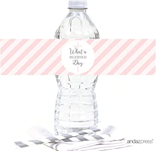 Andaz Press Blush Pink and Gray Baby Girl Baptism Collection, Water Bottle Label Stickers, 20-Pack