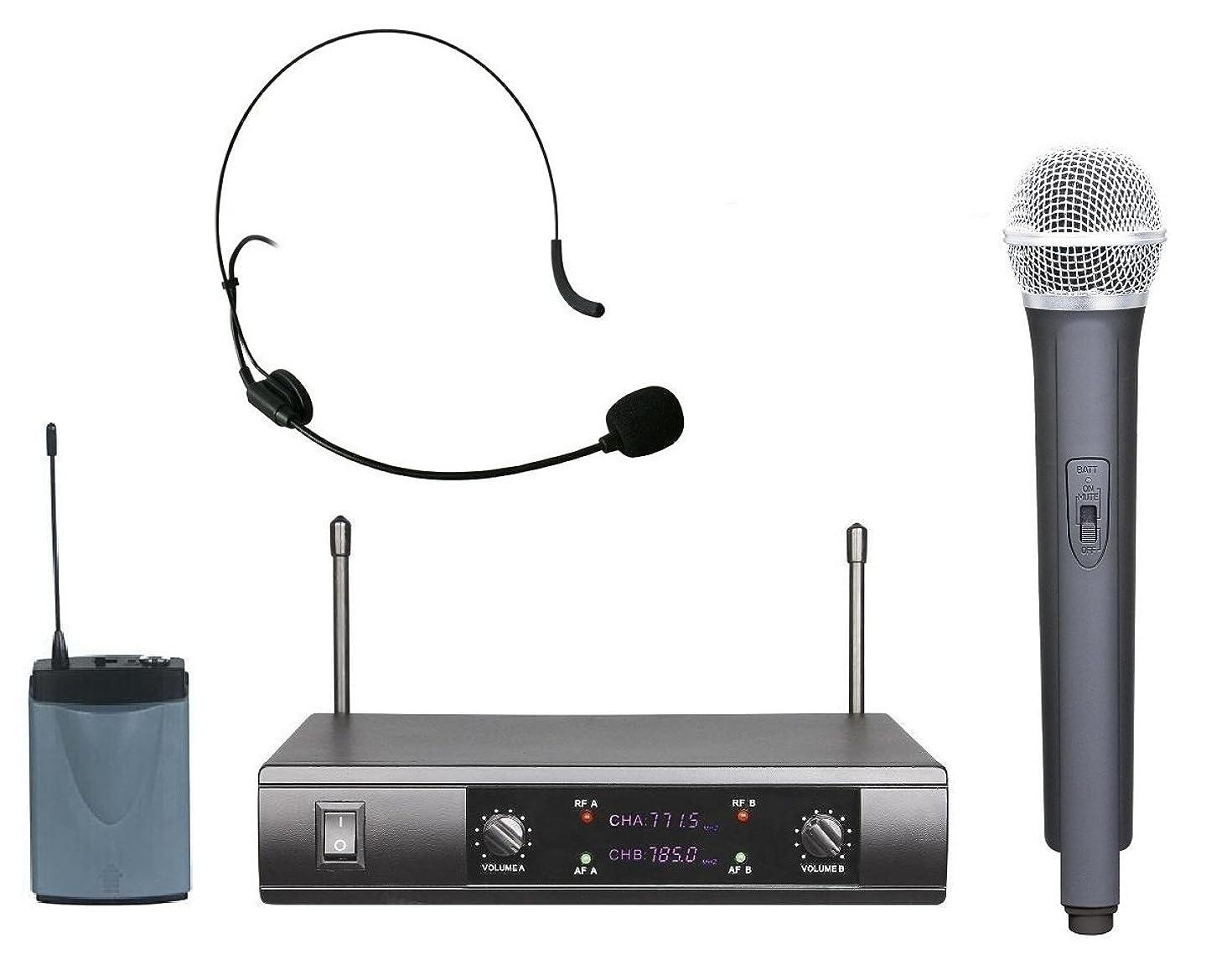 Boly Professional UHF Dual Channels Wireless Radio Handheld Headset Headworn Microphone System