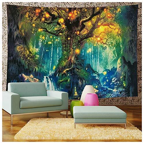 ZQ Tapisserie Wandteppich Mond und Sonne Psychedelische Wandbehang Mandala Bohemien Hippie Tarot Wandtuch Tapestry Indisch (01,150x200cm)