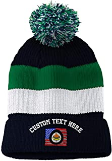 986d1aa3e76 Custom Text Embroidered Sport Curling USA Flag Vintage Striped Pom Pom  Beanie