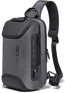 BANGE Waterproof Anti -thief Password Zipper Lock Crossbody Bag with USB Charging Chest bag Shoulder Bag Sling Bag