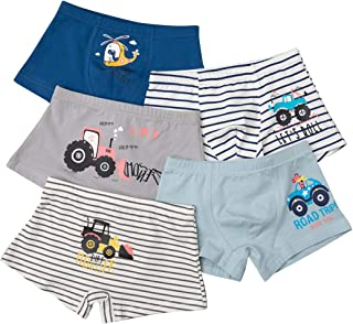 Jelord 5 Unidades Calzoncillos Bóxer para Niño Algodón Partón Coches Rayas Color Azul Disponibles en Tallas de 3 a 12 años...