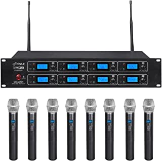 Pyle Professional 8 Channel UHF Wireless Microphone System 8 Handheld Mics Rack Mount Receiver Base RF & AF Radio/Audio Frequency Digital Display Independent Channel Volume Control (PDWM8250)