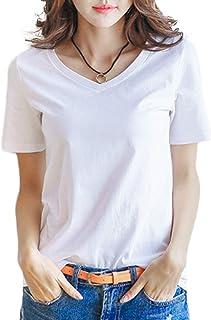 [PEACE LAND(ピースランド)] Vネック tシャツ 半袖 おしゃれ ベーシック トップス 白 黒 赤 黄 グレー S~2XL レディース