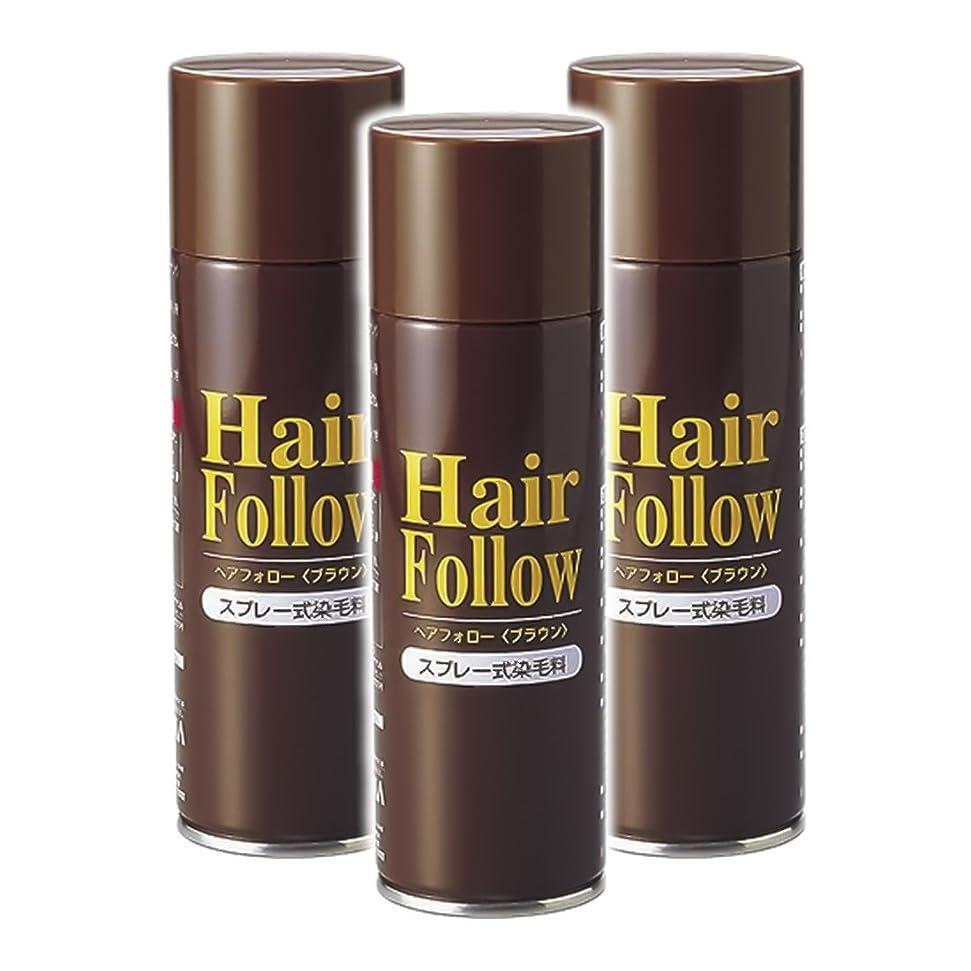到着まあ常識薄毛スプレー 3本セット ヘアフォロー HairFollow ブラウン 150g
