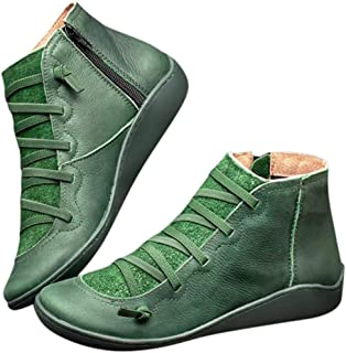 Women's Arch Support Boots Autumn Retro Lace Up Shoes Comfy Flat Heel Ankle Booties Zipper Round Head Casual Short Boot Green