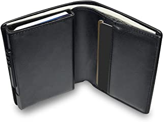 Wallet with Money Clip RFID Blocking Wallet|Minimalist Genuine Leather Mens Card Wallet | Credit Card Holder| Contactless Credit Card Protector |Ultra Thin Automatic Pop-up Card(Black)