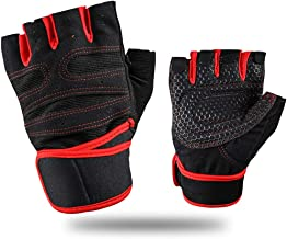 Workout Gloves with Wrist Support Anti-Slip Silica Gel Grip Adjustable Velcro Strap Weightlifting Gloves For Cross Fit Fitness Cycling Size L
