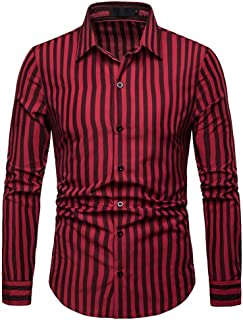 AngelSpace Mens Bussiness Spring//Fall Long Sleeve Plaid Turn Down Collar Work Shirt