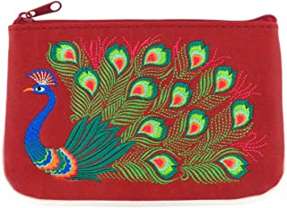 Embroidered Peacock Vegan/Faux Leather Small Pouch/Coin Purse