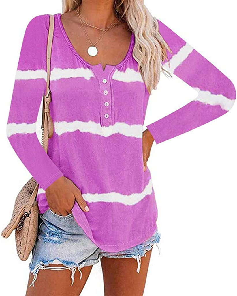 Tops for Women , Women's Casual Striped Tie Dye Printed Long Sleeves Loose 1/4 Button Pullover Sweatshirts Blouse Tops