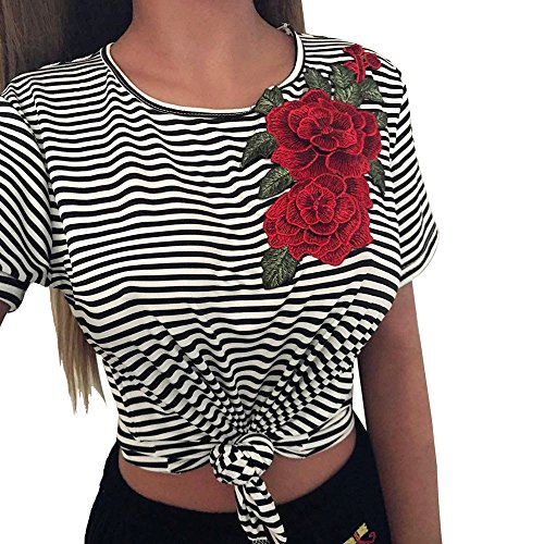 MORCHAN Femmes Mode Sexy Nare Midriff Striated Appliques Rose Manches Courtes Tops (M, Noir)