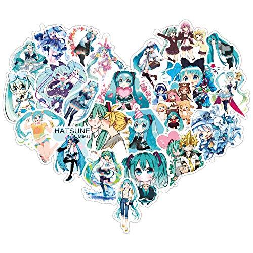 LZWNB Hatsune Miku Pegatina para Maleta Pegatina de Anime decoración para Maleta Pegatina Impermeable Personalidad Creativa Juego de Pegatinas 50 Hojas