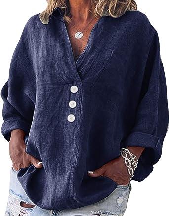 Yidarton Womens Long Sleeve Linen Tops Casual V-Neck Cotton Blouse Loose Plus Size Tunic Shirts