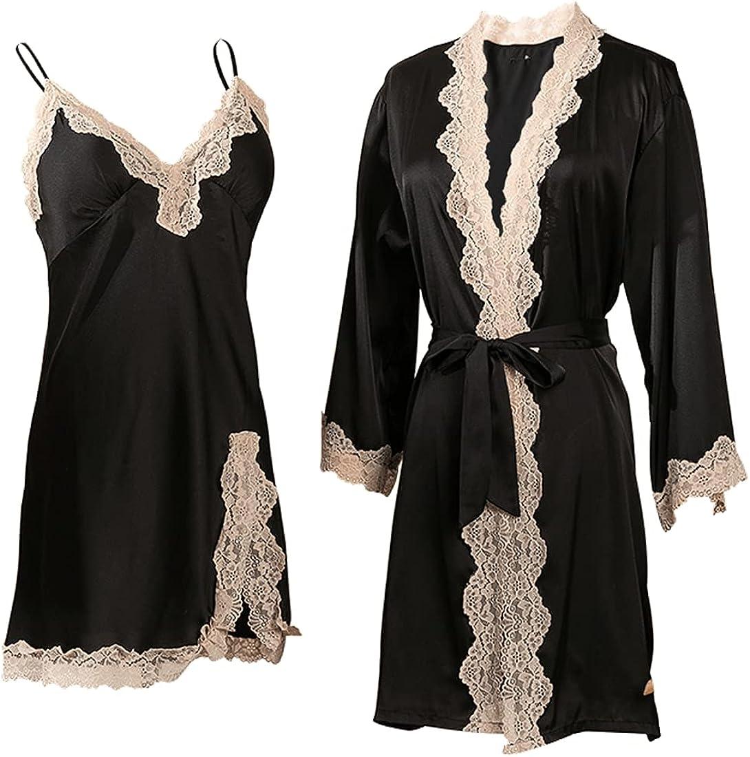 LUVOEURE Womens Sexy Sleepwear Set Silk Classic Lingerie 2pcs Spring new work