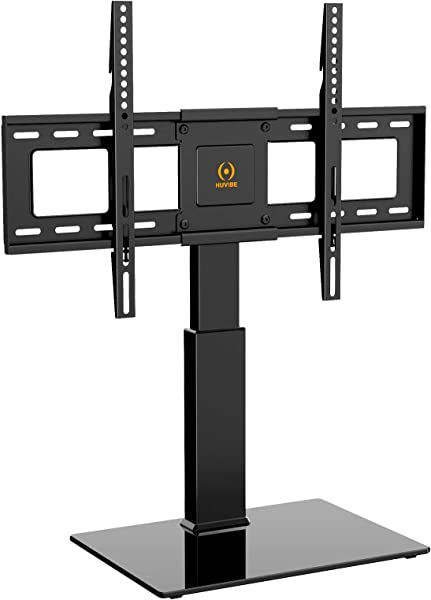 HUVIBE Universal TV Stand Base Tabletop Swivel TV Stand With Mount For Most 37 To 65 Inch Flat Screens Tilt And 5 Level Height Adjustable With Tempered Glass Hold Up To 88lbs Screens