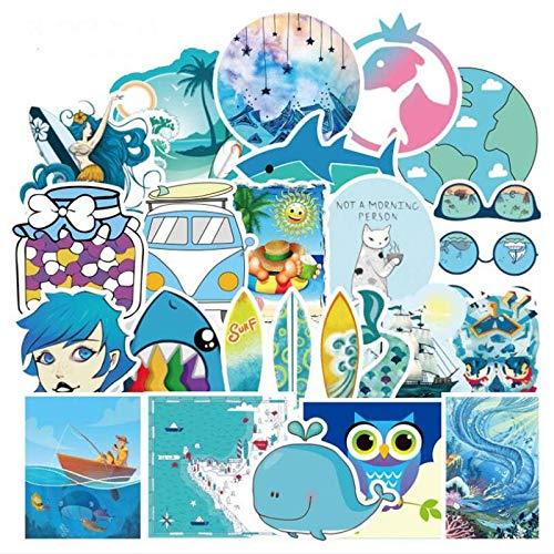 Blue Ocean Fresco Cartoni Animati Graffiti Chitarra Skateboard Computer Portatile Tazza Acqua Casco Impermeabile Decorazione Adesivi 50 Pezzi