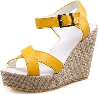56be30d83915 Kaloosh Womens Sweet Platform Ankle Strap Wedge Sandals Ladies Casual  Summer Sandals