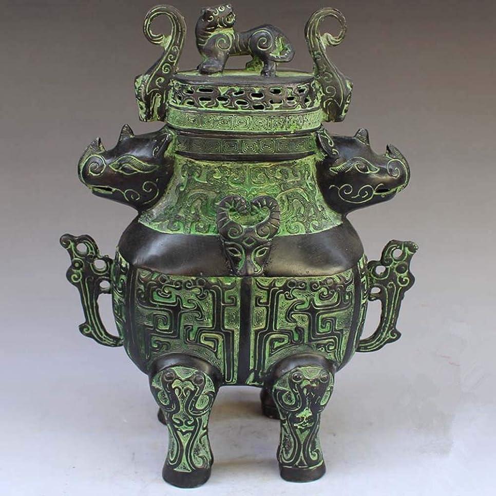 エピソード貸す屋内でChinese Bronze rhinoceros head beast head incense burner statue