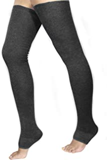 Women's Cashmere Blend Thigh High Leg Warmers - Solid Color