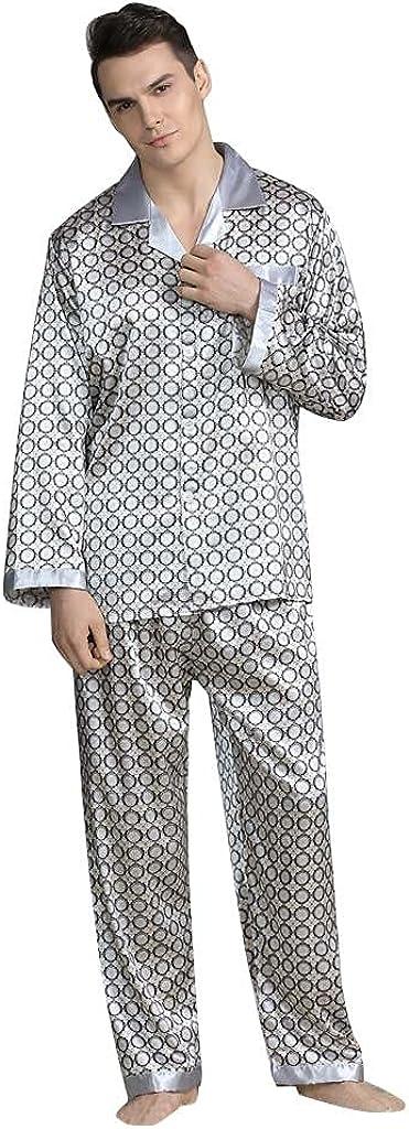 Beppter Men's 2 Piece Sleepwear Classic Satin Button Down Pj Set Casual Soft Homewear Outfits