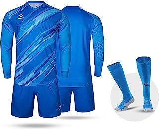 KELME Men Kid Custom Padded Goalkeeper Soccer Jersey and Shorts, Youth Goalie Apparel Shirt and Pants, Boys Girls Keeper Kit