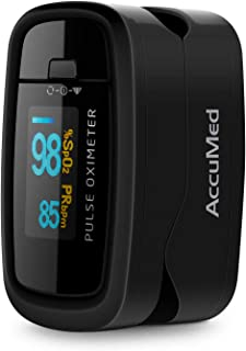 AccuMed CMS-50D1 Fingertip Pulse Oximeter Blood Oxygen Sensor SpO2 for Sports and Aviation. Portable and Lightweight with LED Display, 2 AAA Batteries, Lanyard and Travel Case (Black)