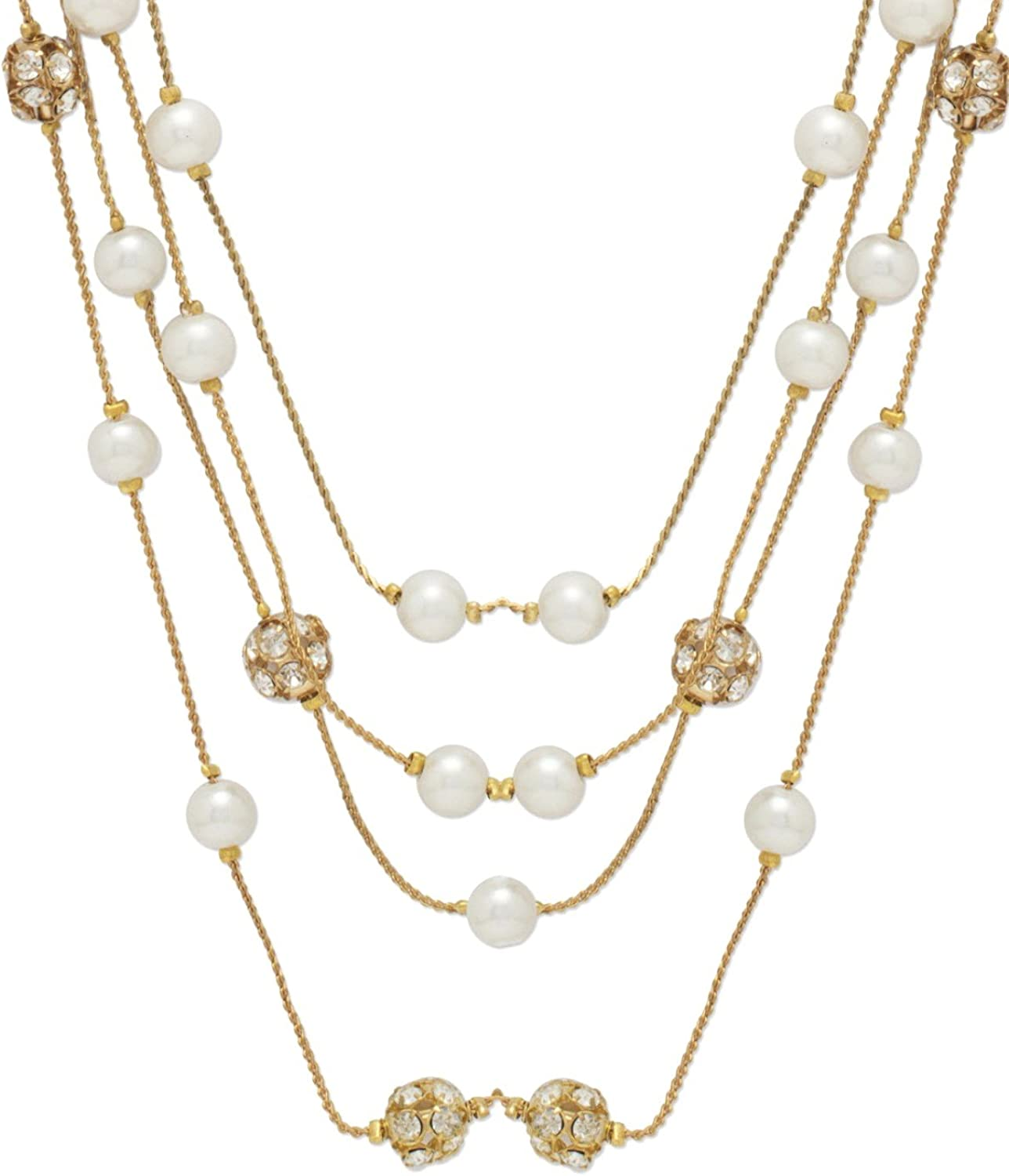 Crunchy Fashion Gold Pearl Bollywood Indian Jewelry Multi-Strand Necklace for Women