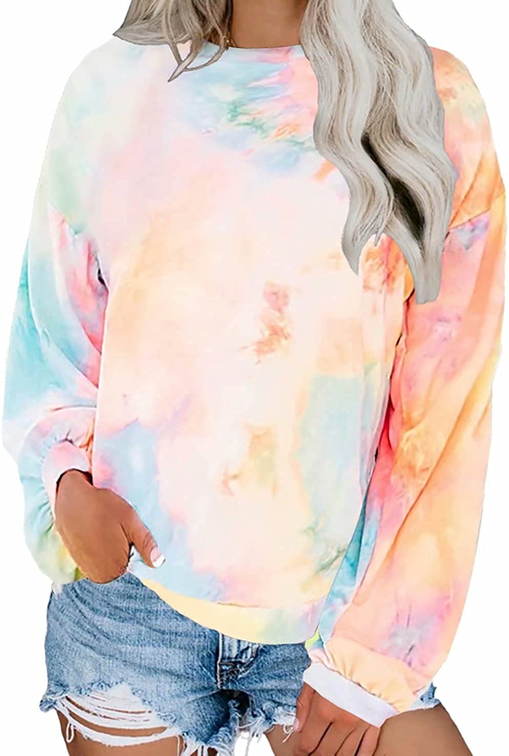 Dokotoo Womens Autumn Ladies Loose Fit Crewneck Long Sleeve Casual Tie Dye Tops Blouses Fashion T-Shirts Thin Pullover Sweatshirt Orange X-Large