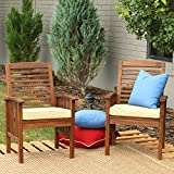 Walker Edison Furniture Company AZWC2DB 2 Piece Outdoor Patio Ladder Back Wood Chair Set with Washable Cushions All Weather Backyard Conversation Garden Poolside Balcony, Set of 2, Dark Brown