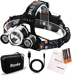 Head Lights, Super Bright Head Torches 6000 Lumens, 90 Degree Adjustable Cree Led Headlamp with 3 Lights 4 Modes, Waterpro...