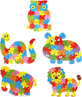 Queenie Wooden Stereoscopic Snails Form Alphabet Numbers Puzzles Animal Puzzles Use Environmental Water Based Paint Queenie®