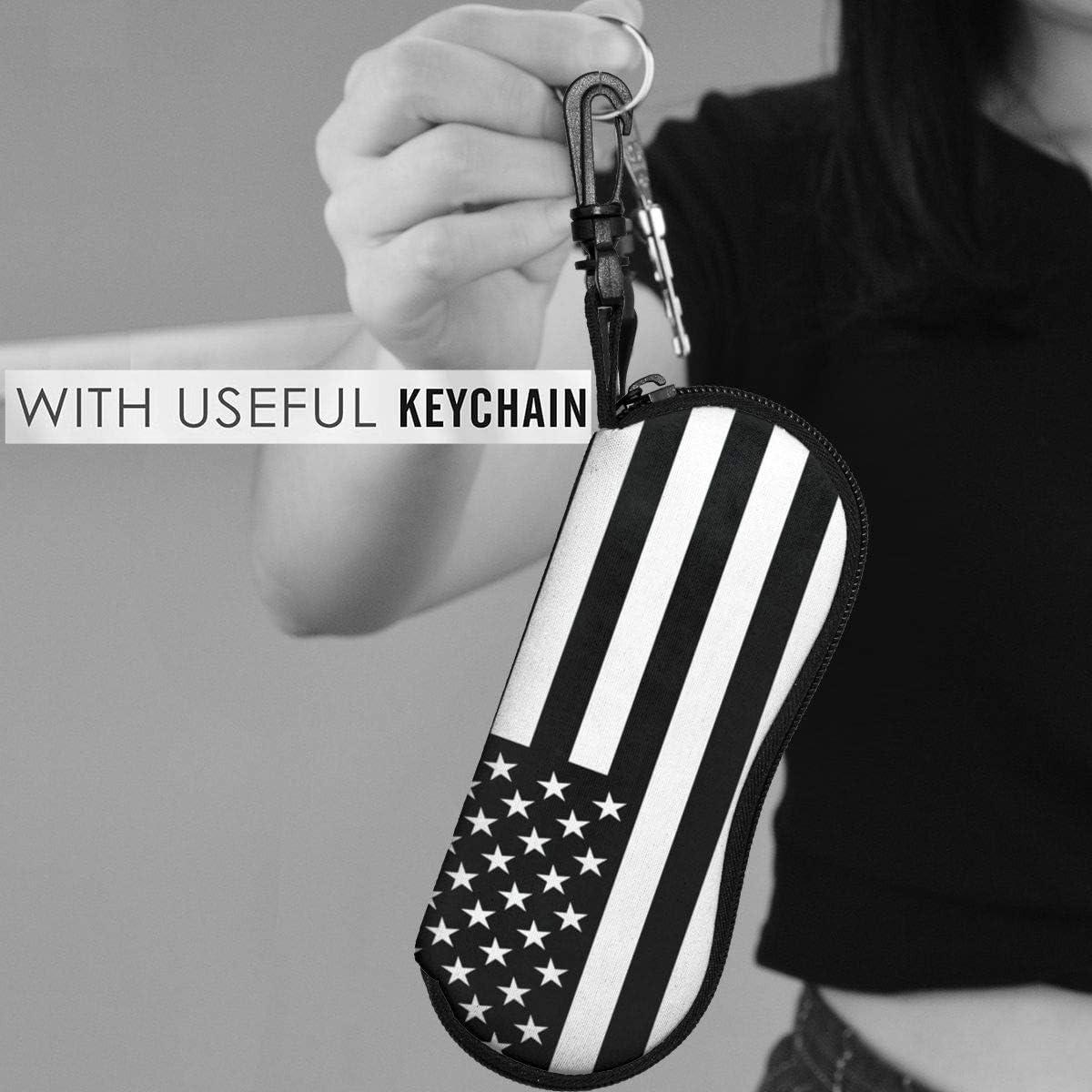 Black And White American Flag Sunglasses Soft Case Ultra Light Neoprene Zipper Eyeglass Case With Key Chain