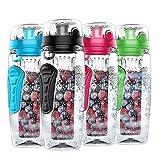 Nomisty Wasserflasche mit Fruchteinsatz,1000ML Fruit Infuser Sports Trinkflasche BPA-Frei mit Kühlung Obst Flasche (Schwarz)