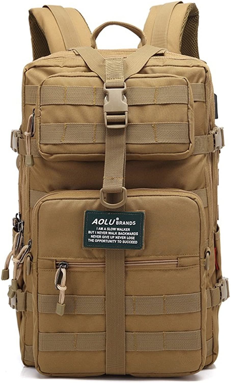 ALUA- Khaki Hiking Backpack, Waterproof Oxford Package Outdoor Sport Travel Trekking Running Men
