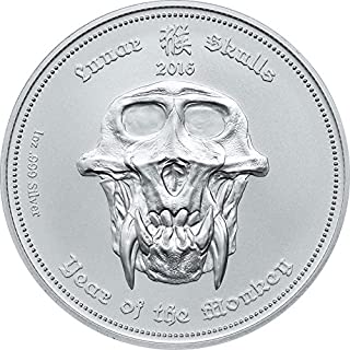 2016 PW Lunar Skulls YEAR OF THE MONKEY SkullCoins Chinese Zodiac 1 Oz Silver Coin with Numbered COA - Palau $5 Dollars BU