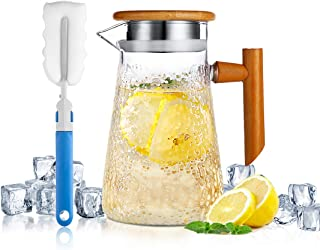 Glass Pitcher with Bamboo Lid, ONEISALL Hot/Cold Water Pitcher with Handle, 32oz Juice and Iced Tea Beverage Carafe, Stovetop Safe