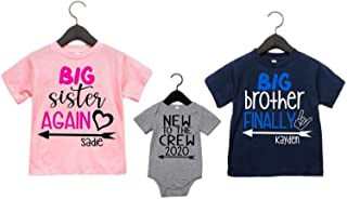 Big Sister Big Brother Shirts- Big Brother Again, Big Sister Again, Big Bro Finally Personalized Set