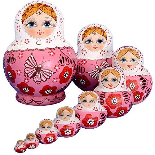 YAKELUS,marquedepoupéesgigognes(matriochkas),10pièces,poupéesgigognesrusses,fabricationmanuelle,tilleulboréale,cadeaux,jouets?1071