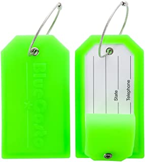 BlueCosto 2x Luggage Tags Suitcase Labels Tag Privacy Cover Steel Loops - Green