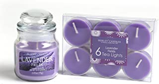 Hosley® Lavender Fields Highly Fragranced, 2.65 Oz Wax, Jar Candle with Pack of 6pieces Scented Tealights
