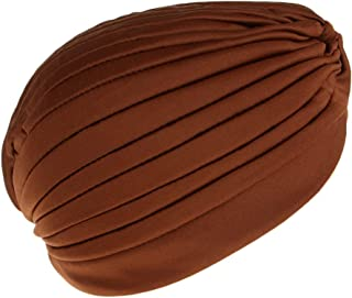 IPOTCH Solid Color Plain Twist Pleasted Hair Turban Stretch Cap