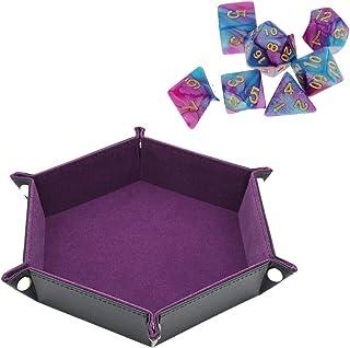 両面 ダイストレイ 六角形 PU レザー折りたたみト レイフィット 用ダイステーブルゲームキー財布 コインボックストレイデスクトップ 収納 (紫)