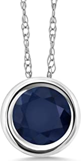 1.10 Ct Round Blue Sapphire 14K White Gold Pendant With Chain