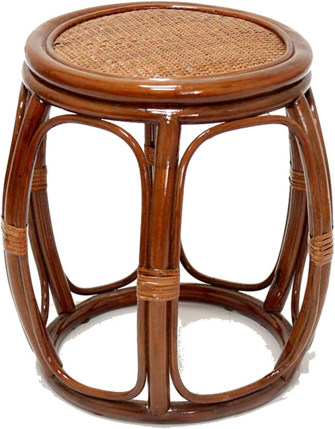 Stools Footstool Work Stool Step Stool Hand-Woven Small Short Round Stool Natural Plant Vine Environmental Predection Drum Stool Change shoes Tingting (color   Brown)