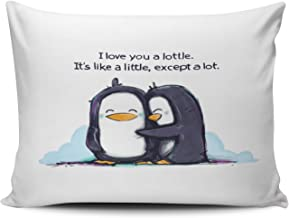 SALLEING Design Hot I Like You a Lottle Penguins One Side Decorative Pillowcase Standard Zippered Throw Pillow Case Cushion Cover 20x26 inches