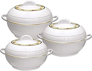 Asian Sq Pro Ambiente Large Food Warmer Hot Pot Set Of Insulated Casseroles 6 8 And 10 Litre