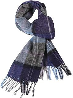 100% Pure Wool Scarf, WAMSOFT Plaid Tartan Warm Fashion Long Winter Scarves for Men Women