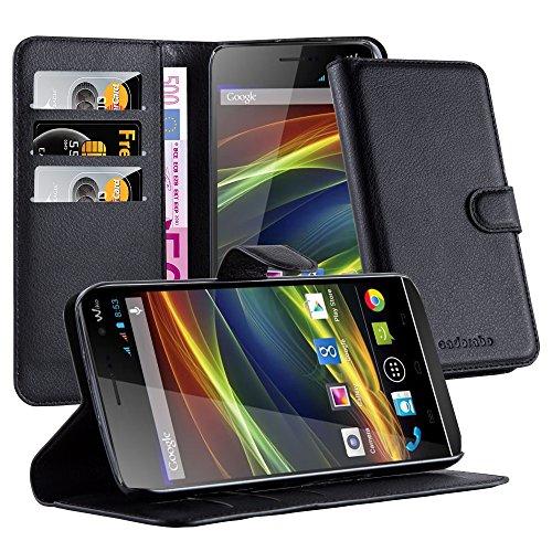 Cadorabo Hülle für WIKO Slide in Phantom SCHWARZ - Handyhülle mit Magnetverschluss, Standfunktion & Kartenfach - Hülle Cover Schutzhülle Etui Tasche Book Klapp Style